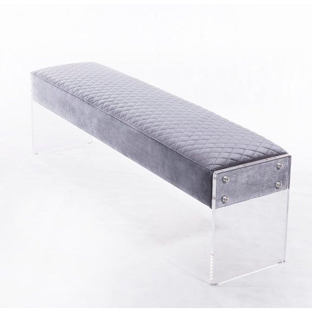 2010s Blink Home Velvet Bench For Sale - Image 5 of 5