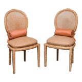 Image of Faux Bois Caned Back Side Chairs With Wicker Seat For Sale