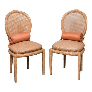 Faux Bois Caned Back Side Chairs With Wicker Seat For Sale
