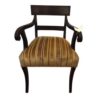 Antique Early 19th C Regency Ebony Arm Chair W Silk Striped Velvet For Sale