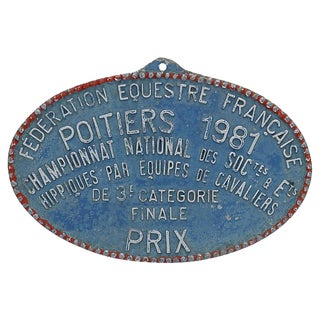 1981 French Paris Horse Show Plaque For Sale