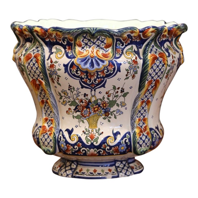 Early 20th Century, French Hand Painted Faience Planter From Normandy For Sale