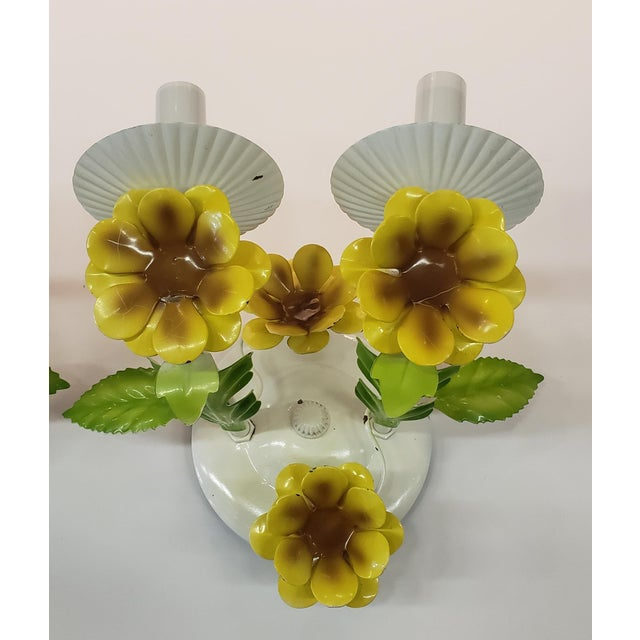 Metal Italian Tole Yellow Daffodil Sconces - a Pair For Sale - Image 7 of 10