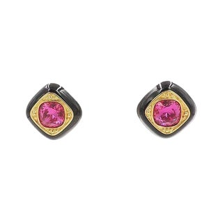 Swarovski Faux-Ruby & Enamel Earrings For Sale