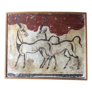 Vintage Mid-Century Gazelle Fresco Painting For Sale