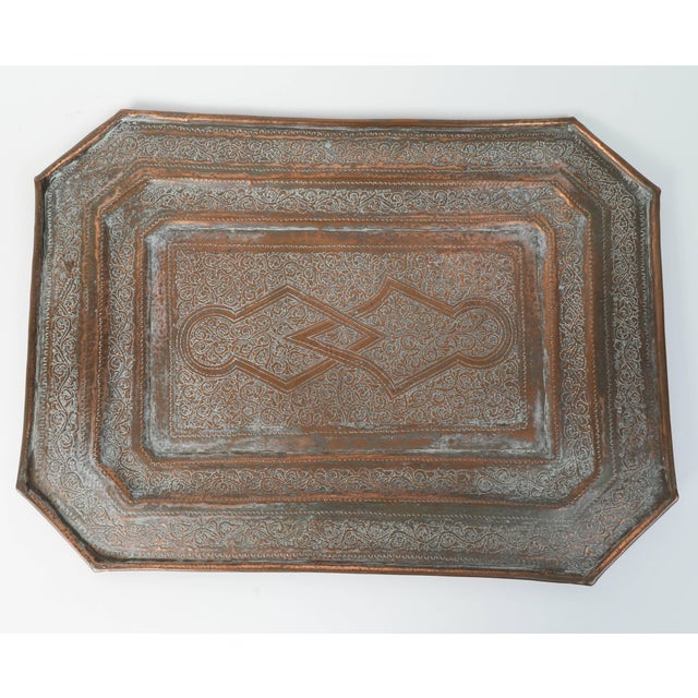Copper Middle Eastern Octagonal Persian Copper Tray Charger For Sale - Image 7 of 7
