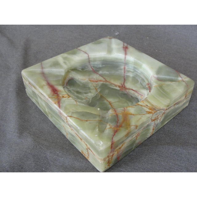 Vintage Mid-Century Modern Square Green Onyx Ashtray For Sale - Image 4 of 6