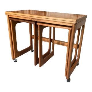 Vintage Mid Century Ah McIntosh Co. Ltd Teak Triform Nesting Tables For Sale