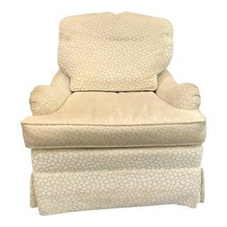 Modern Upholstered White Chenille Swivel Chair For Sale