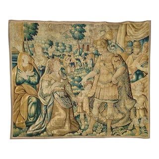 Antique Flemish Tapestry of Soldier Back From a Battle For Sale