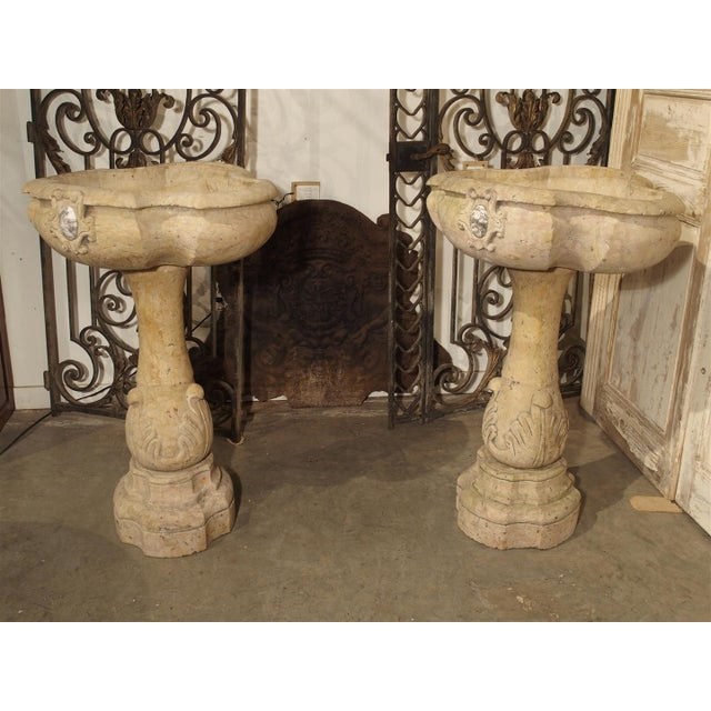 Rare Pair of Carved Italian Marble Stoups, Giallo Reale For Sale - Image 11 of 11