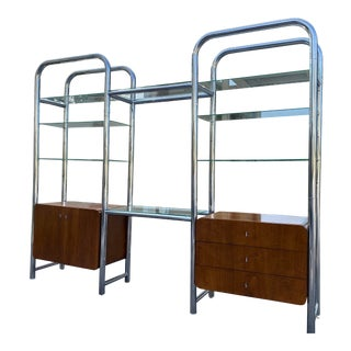 Mid 20th Century Chrome Etagere Wall Divider in the Style of Janet Schweitzer For Sale