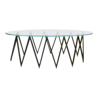 Spectacular Zig Zag Brass and Glass Coffee Table For Sale
