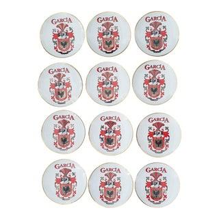 Vintage Decorative Dish Porcelain Monogramed Garcia Dishes - Set of 12 For Sale
