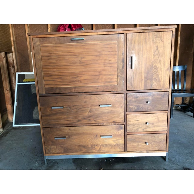 Room & Board Linear Walnut Office Armoire For Sale - Image 13 of 13