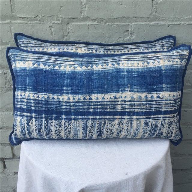 Blue & White Batik Cotton Pillows - Pair - Image 2 of 5
