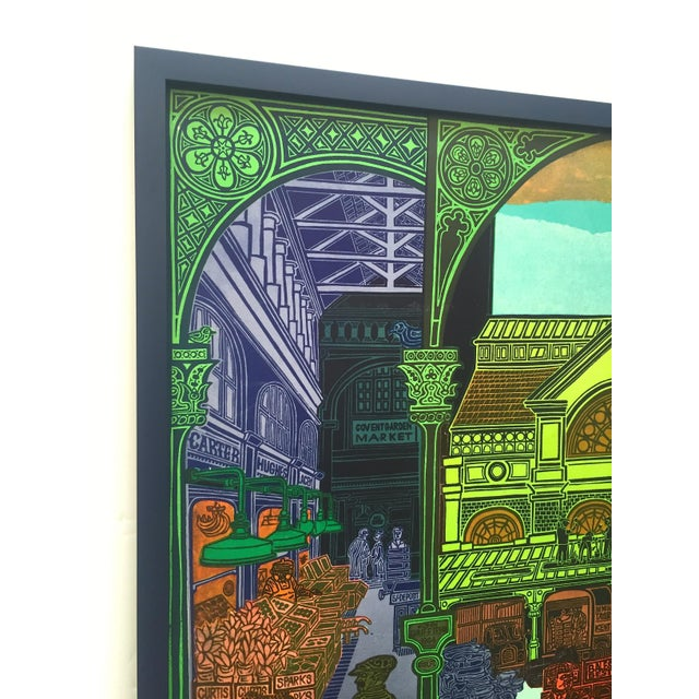 """Various Artists Rare Vintage 1965 John Griffiths """"Covent Garden: Rhubard and Roses"""" Framed Lithograph Print London Transport Poster For Sale - Image 4 of 13"""