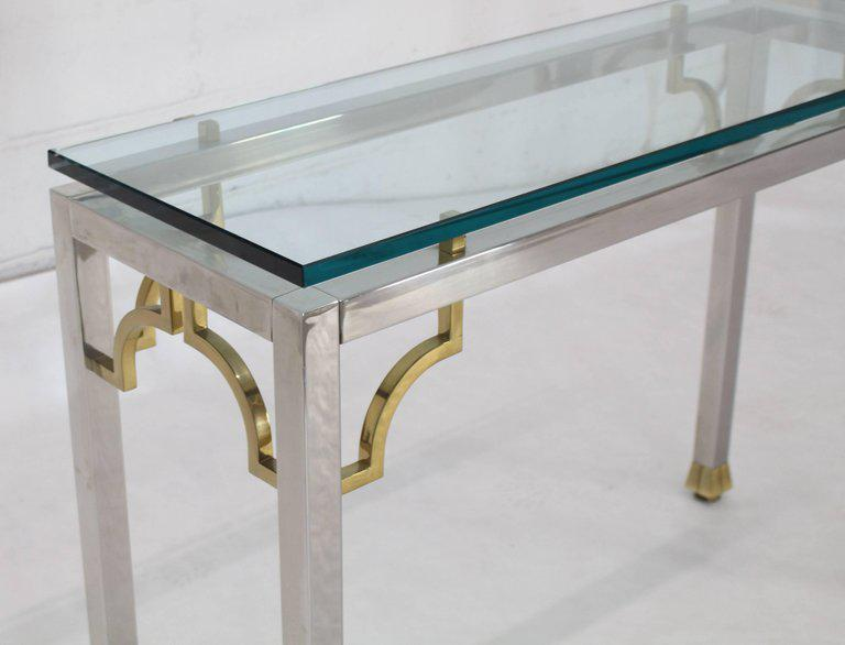 Distinguished Chrome Brass Thick Glass Top Console Sofa Table Decaso
