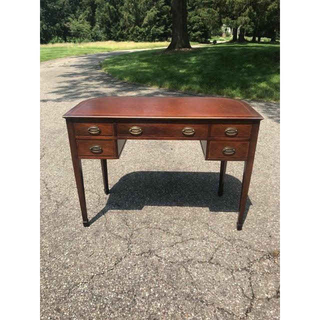 Barrel Back Walnut Desk With Leather Top Made by Baker Furniture For Sale - Image 11 of 11