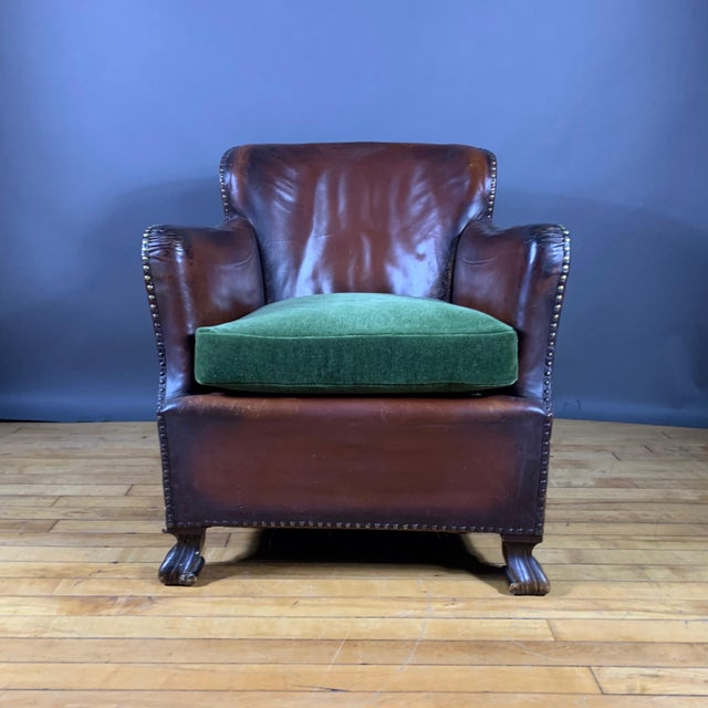 Early 1940s Danish Cognac Leather Club Chair, New Mohair For Sale In New York - Image 6 of 10