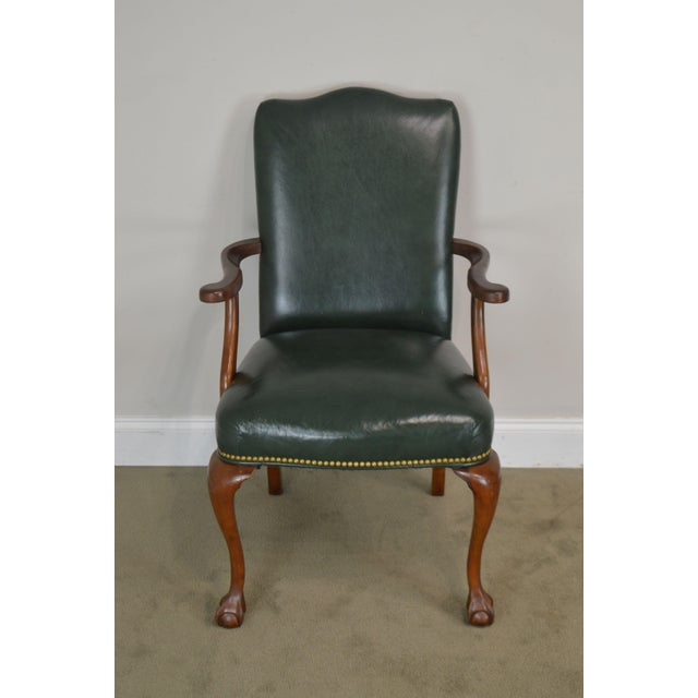 South Mark Green Leather Chippendale Style Ball & Claw Pair Armchairs (A) For Sale - Image 4 of 12