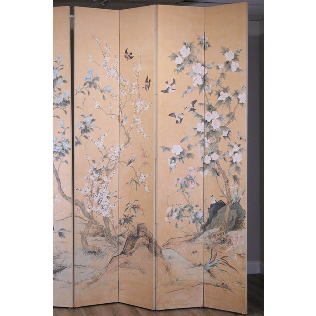 Monumental Oriental 2 Piece 8 Panel Hand Painted Folding Screen Room Divider For Sale In Philadelphia - Image 6 of 13