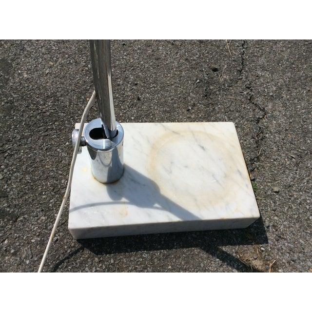 Mid Century Marble Chrome Arc Floor Lamp - Image 8 of 11