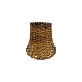 Small Vintage Woven Rattan Lamp Shade For Sale
