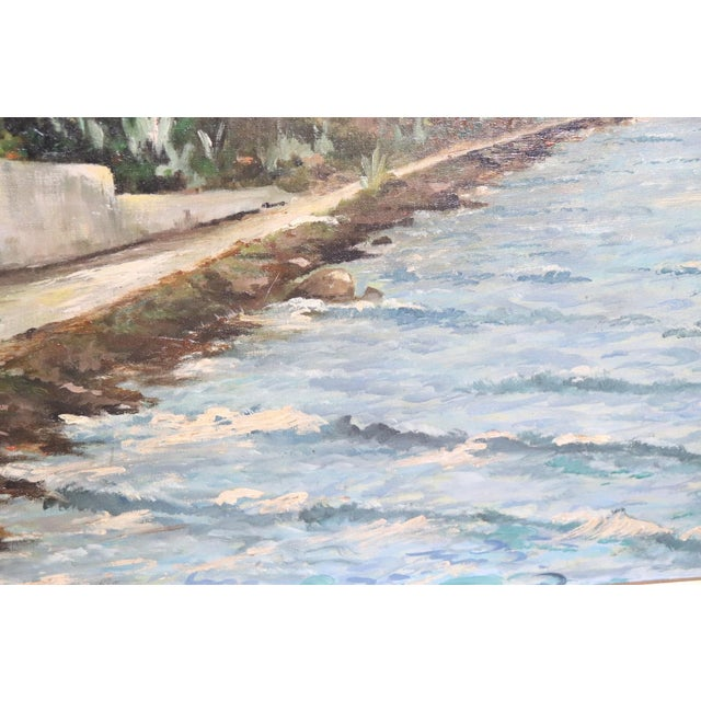 1940s 20th Century Oil Painting on Canvas Signed Landscape of the Italian Coast For Sale - Image 5 of 9