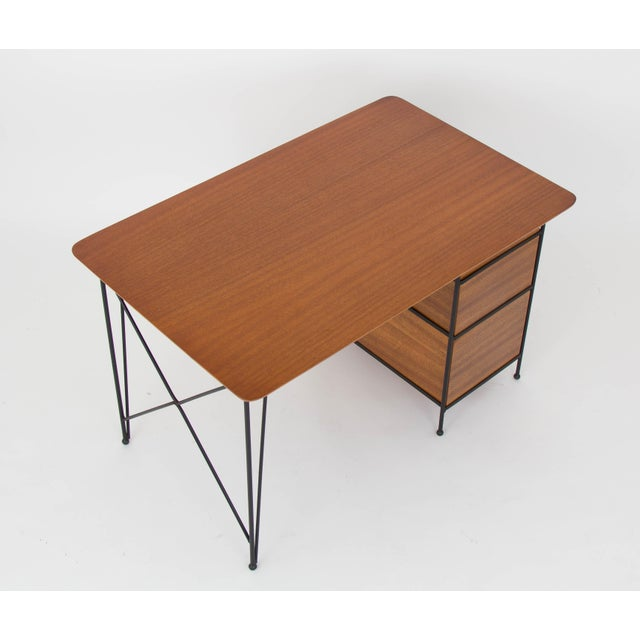 Modernist Desk in Mahogany and Enameled Steel by Vista of California - Image 9 of 9