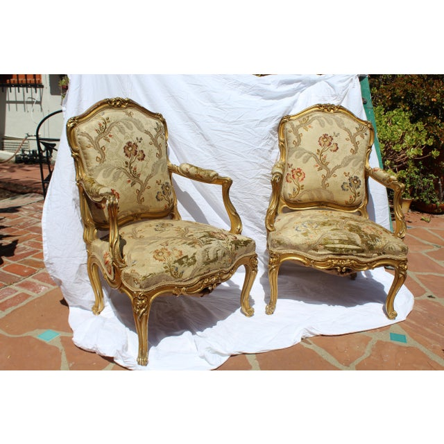 Pr. Of Signed Maison Jansen Arm Chairs Late 19c. Louis XV Style For Sale In San Diego - Image 6 of 12