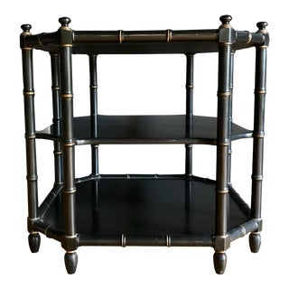 20th Century Faux Bamboo 3 Tier Side Table by Henredon For Sale