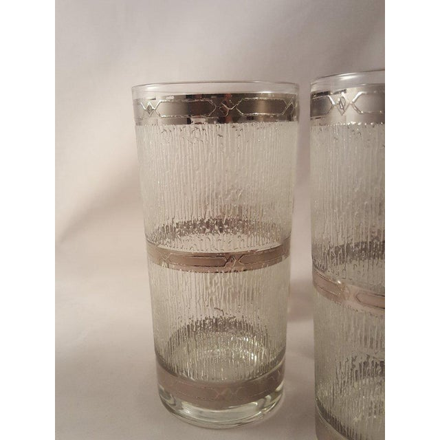 Late 19th Century Culver Suburban Wet Textured Platinum Banded Tumblers - Set of 6 For Sale - Image 5 of 11