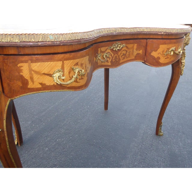 Vintage French Louis Xvi Style Ormolu Bureau Plat Writing Desk