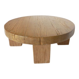 Reclaimed Wood Low Round Coffee Table by Dos Gallos Studio For Sale