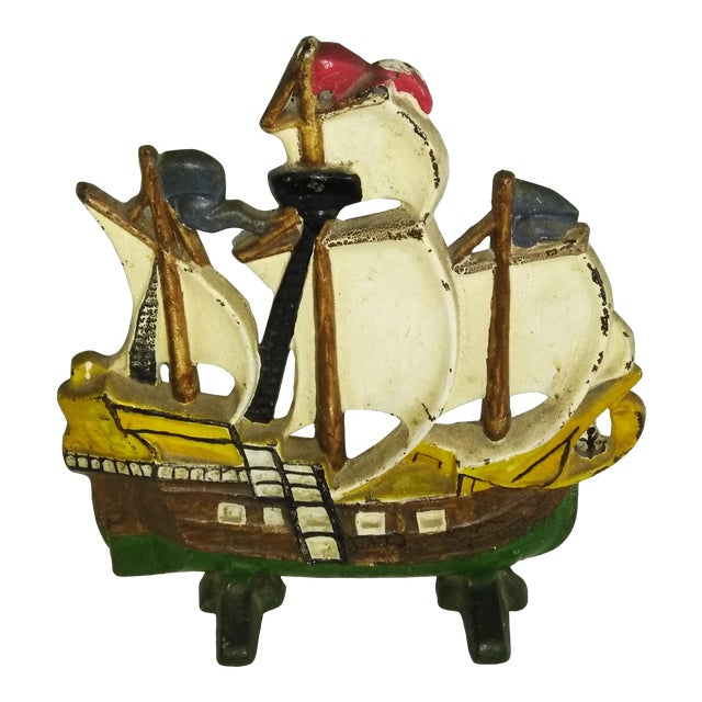 Early 20th Century Vintage Spanish Galleon Cast Iron Doorstop For Sale