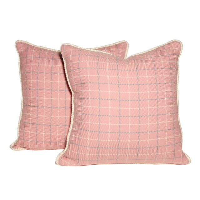American Pink and Blue Tattersall Throw Pillows- A Pair For Sale - Image 3 of 3