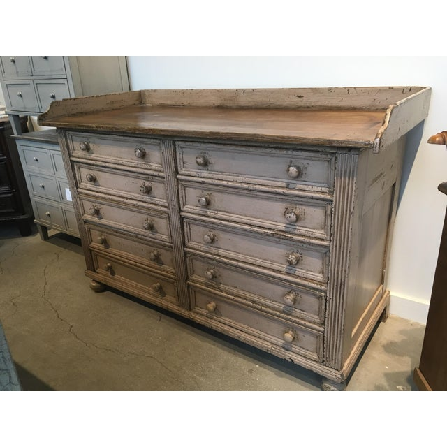 Handmade English sideboard with 10 drawers. Antiqued paint and reclaimed antique pine.