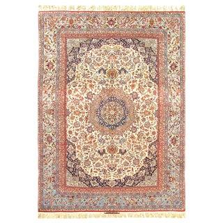 "Persian Pasargad Fine Isfahan Handmade Silk & Korker Wool Rug - 7'2"" X 10'6"" For Sale"