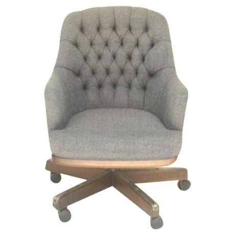 Chesterfield-Esque Tufted Wool Office Chair For Sale