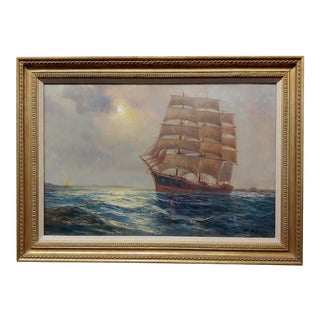 "Daniel Sherrin the Elder ""Clipper Ship"" Seascape Oil Painting, 19th Century For Sale"
