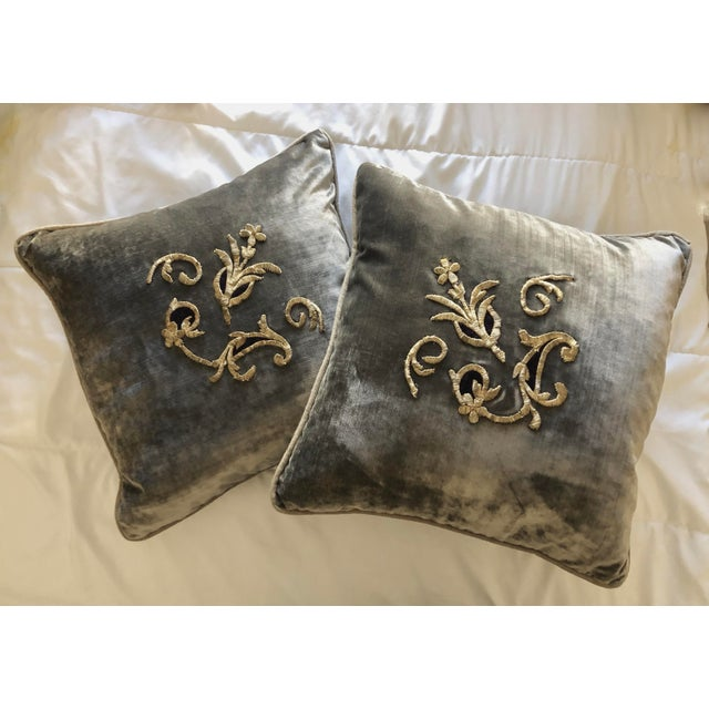 Grey Velvet Pillows Re-Designed With Antique Silver Wire Embroidery- a Pair For Sale - Image 13 of 13