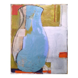 Large Blue Vase Painting Mixed Media Collage For Sale