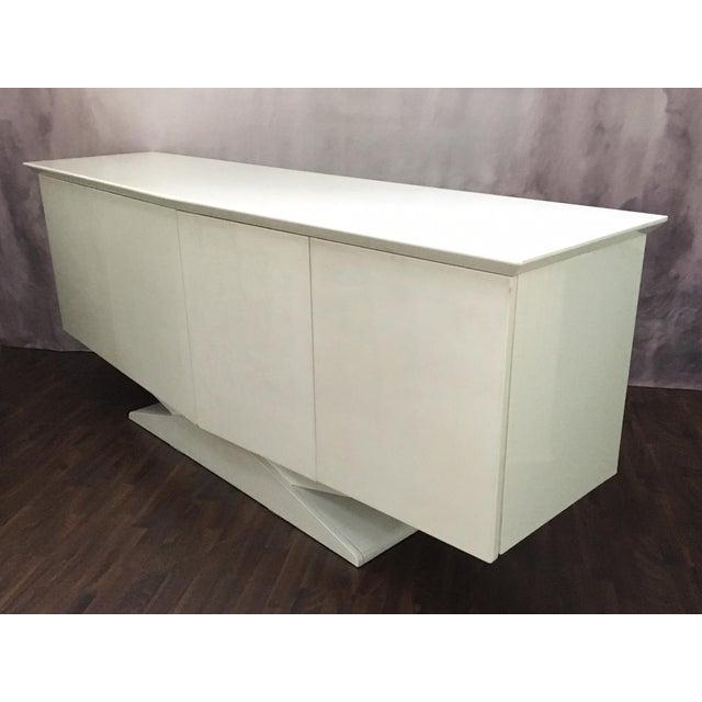 Modern Ello Art Deco White Pearlescent Console Cabinet Credenza - Image 4 of 10