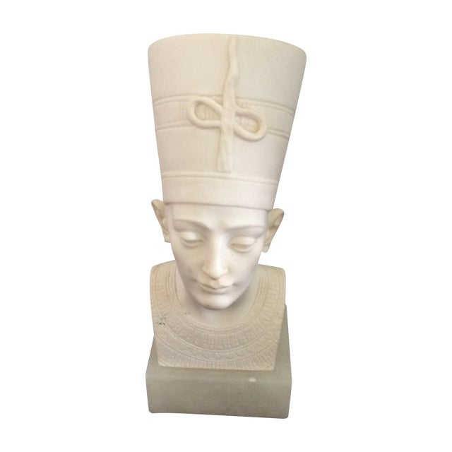 Signed Plaster Bust of Nefertiti on Alabaster Base - Image 1 of 8