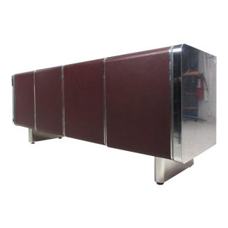 Mid-Century Modern Chrome and Leatherette Front Italian Sideboard For Sale