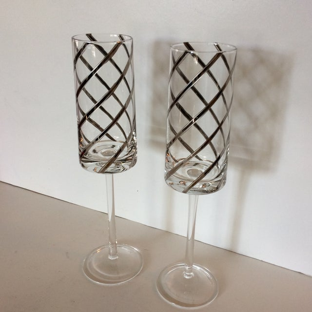 Vintage Crystal Platinum Swirl Toasting Glasses - A Pair For Sale - Image 10 of 11
