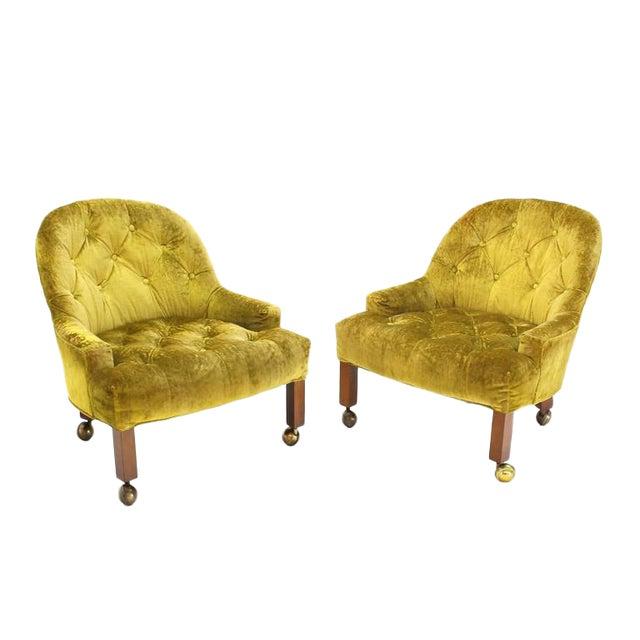 Pair of Gold Tufted Velvet Upholstery Vintage Barrel Back Slipper Lounge Chairs For Sale