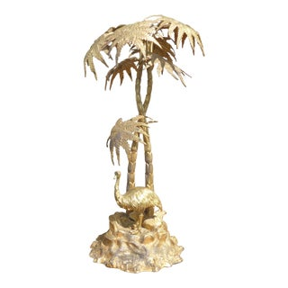 Vintage Mappin Brothers of London Emu Bird Statue Table Top Decor W Palm Trees For Sale