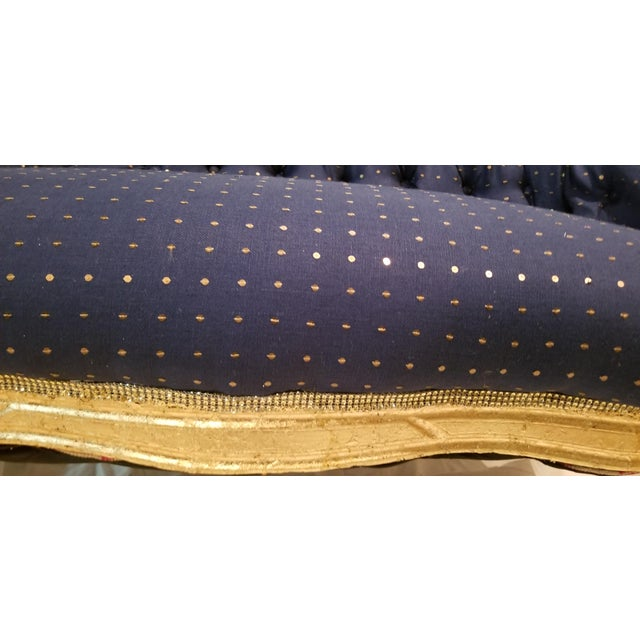 Antique Settee in Navy Linen With Gilded Frame For Sale - Image 4 of 10